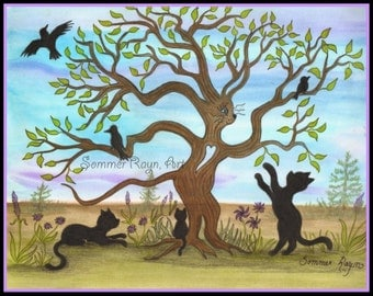 Magical tree that is shaped like a cat, with ravens and black cats, colorful silhouette card or print, Drawing, Item #0387a