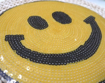 Sewing on Patch, Gold Sequin patch applique  smile patch for adding that extra touch
