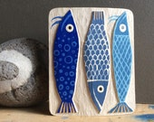 WOOD RELIEF blue FISHES carved in oak