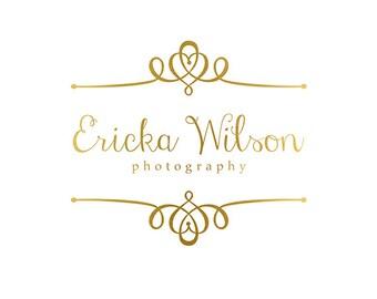 Pre-made Logo & Photography Watermark Design - Gold Logo Template - Heart Logo - Whimsical Logo - Photography Logo - Heart Watermark - 779