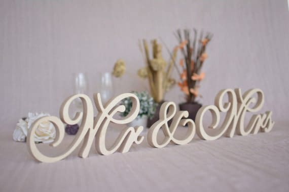 Small Or Large Stable Mr & Mrs Sign Set Standing Letters Mr
