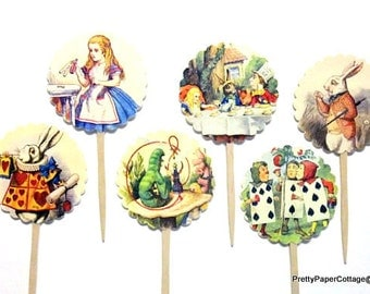 Alice in Wonderland Cupcake Toppers, Mad Hatter, Tea Party, Bridal Shower, Baby Shower, Birthday Party, Set of 12