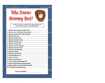 Baseball Who Knows Mommy Best, Printable Mommy To Be Game, Baseball Baby Game, Who Knows Mommy Game, DIY Baseball Game -By Printables 4 Less