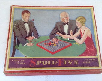Chad Valley 'Spoil Five'. The pre-runner of connect 4. Game for 2-4 players 1920 - 1939