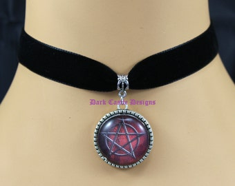 16mm Black Velvet Choker Necklace Red Pentagram Glass Cameo Cabochon Pendant Gothic Wicca Pagan
