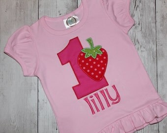 Birthday Applique Strawberry Shirt-Girl-Persoalized