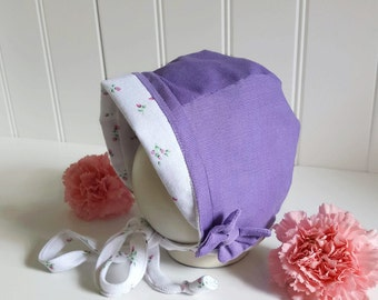 Lavender Baby Bonnet - Purple Corduroy Bonnet - Floral Bonnet - Vintage Style Bonnet - Fall/Winter Bonnet - Unique Bonnet