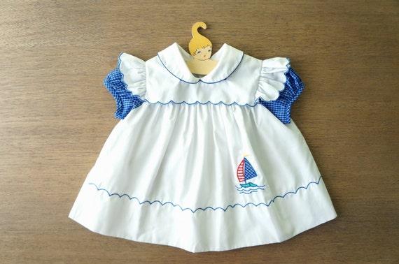 Vintage Baby Clothes Baby Girl Blue Sailor Sailboat Pinafore