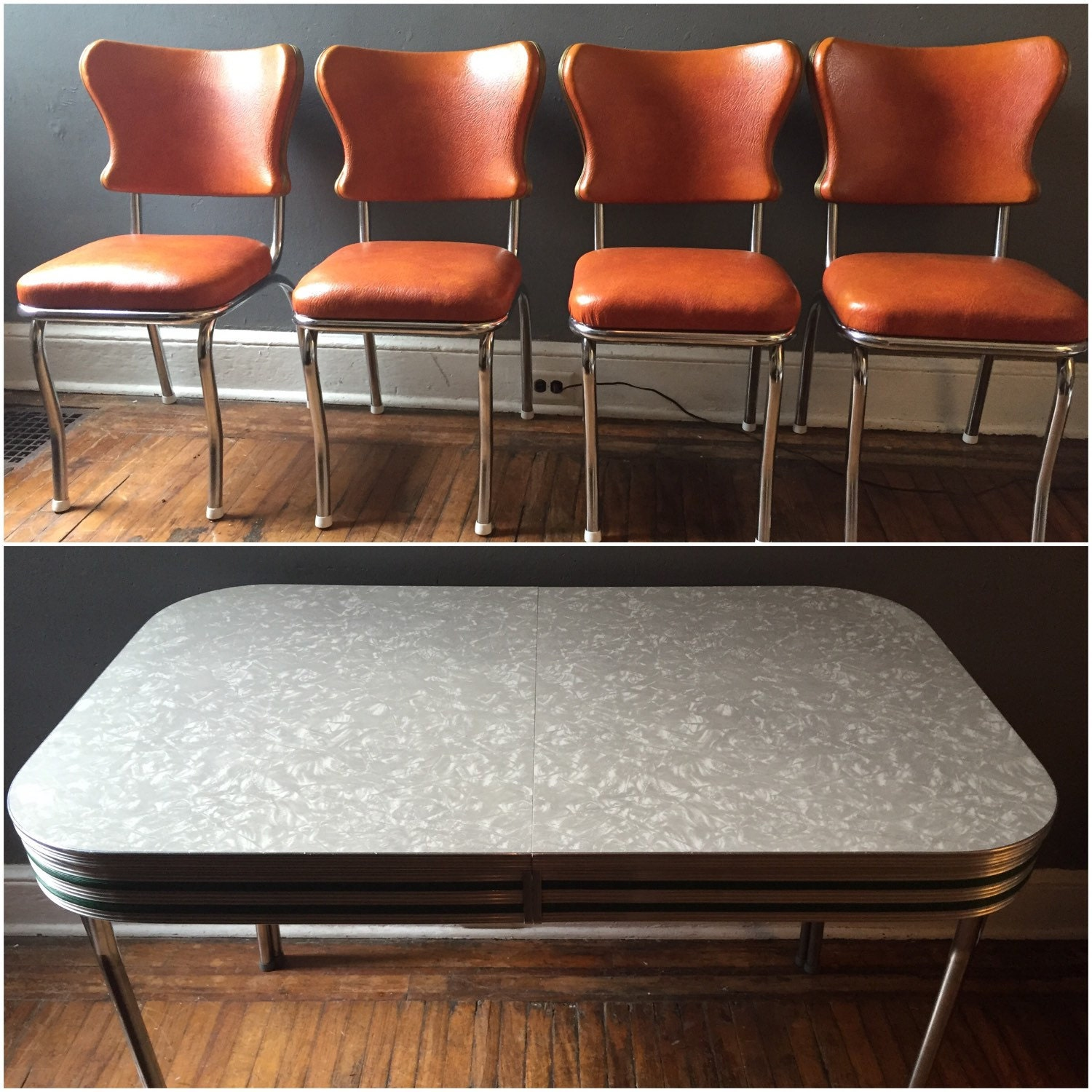 Atomic kitchen table and chairs vintage dinning set formica table top with set of orange seats - Formica top kitchen table ...