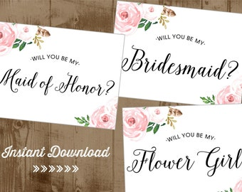 Will You Be My Bridesmaid - Flower Girl - Maid or Matron of Honor - Printable 5x7 cards - Instant Download - pink Blush vintage flowers