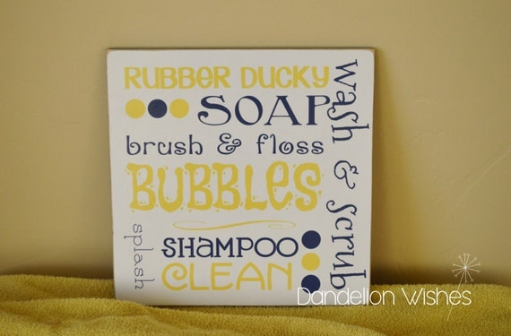 Items similar to 8x8 fun size yellow and navy blue bath for Blue and yellow bathroom decor