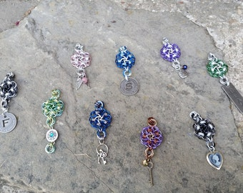 Chainmaille flower pendants