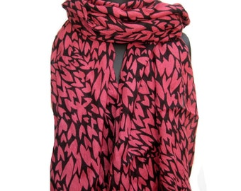 Black and peach scarf/ cotton scarf/ heart print scarf/ fashion scarf/ gift scarf/ for her.