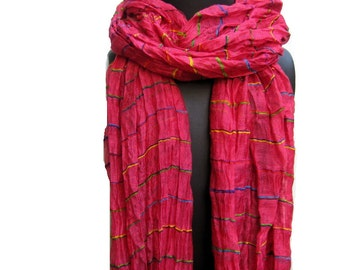 SALE! was 16 USD. Now......Fashion scarf/ Multicolored scarf/ striped scarf/ cotton scarf/ magenta scarf / gift ideas.