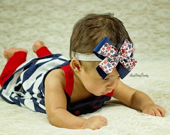 The fourth 4th of July baby girls headband red white and blue