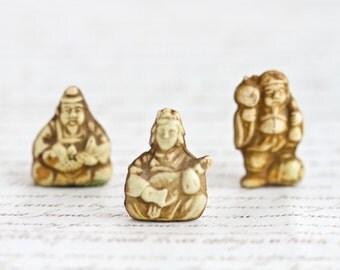 Tiny Celluloid Oriental Figures - Antique Faux Ivory Depositato - Set of 3