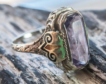 Lovingly Worn Antique White Gold Filigree Amethyst Ring With Enamel