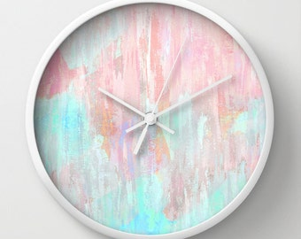 "Pastel Abstract Wall Clock 10"" Clock Abstract Art Modern Home Decor White Black Natural"