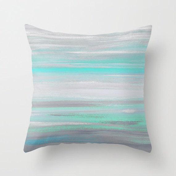 Throw Pillow Cover Grey Mint Aqua Abstract Modern Home Decor