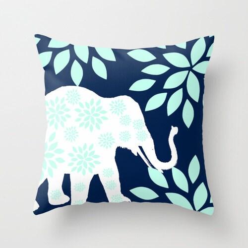 Elephant Throw Pillow Case : Elephant Throw Pillow Cover Navy Blue White Aqua by HLBhomedesigns