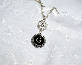 Typewriter Key Initial Necklace, Handmade Vintage Style, Personalized with a Letter G Initial. Eco Friendly Gift.