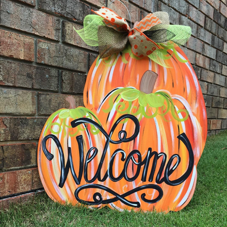 Pumpkin Front Door: Pumpkin Door Hanger Fall Door Hanger Welcome Door Hanger