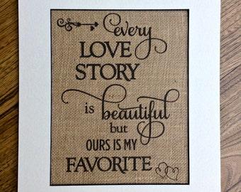 Wedding burlap print, custom print, wall decor, wedding decor, rustic decor, love story
