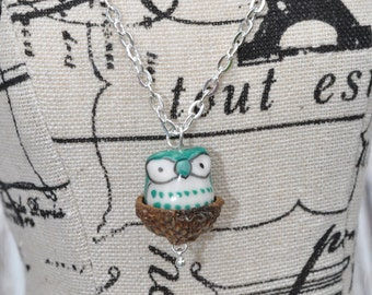 Silver Necklace - Nest Jewelry - Owl - Green