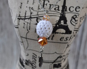 Jewelry - White and Orange - Feather - Crochet - Silver