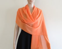 Chiffon Long Scarf. Orange Wrap Scarf.