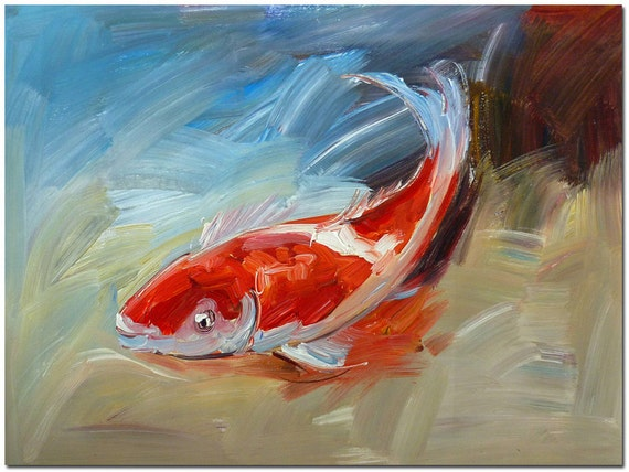 Signed Hand Painted Impressionist Koi Fish Painting On Canvas