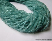 Sale 15% Off......  3.50 mm Natural Genuine AQUAMARINE ROUNDEL Micro Faceted  Beads.....  Have Lots of Gorgeous......