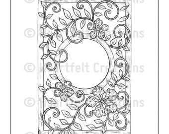 Heartfelt Creations Cling Rubber Stamp Set ~ Vintage Floret Frame, HCPC3522