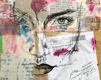 HIGH QUALITY PRINT Mixed Media Collage Pen Drawing Portrait Model Girl Eyes Fashion Art Artwork Wall Paper ephemera Stamps Newsprint Pink
