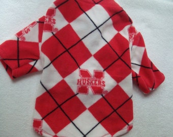 Dog Coat, Nebraska Huskers Dog Coat, Small Dog Coat, Fleece Dog Coat