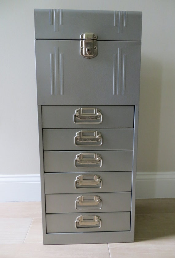 Vintage Acorn Industrial Metal File Cabinet Office Storage