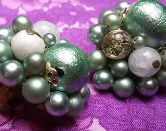 Vintage green cluster beaded earrings