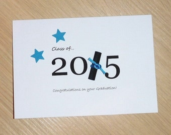 Graduation Congratulations card - Class of 2015 with degree scroll - high school or university - handmade greeting card