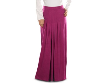 "Munisa Fuschia Jersey Long Skirt AS007 Islamic Formal, Muslim Ladies Skirt, Daily & Casual Wear Made In Jersey ""100% viscose"" Fabric"