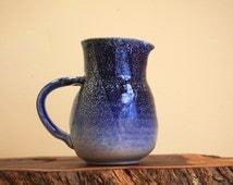 Pottery Jug, Pottery Pitcher, Australian Pottery, Blue Pottery Jug, Signed Pottery, Pottery Vessel
