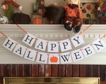 Happy Halloween party banner, halloween decor, Halloween banner, halloween decoration, fall decor, fall decorations, fall banner