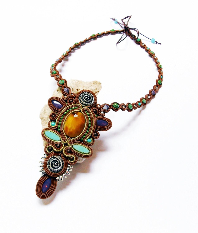 Unique Jewelry: Soutache Jewelry. Soutache Necklace OOAK Handmade Jewelry