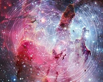 Galaxy Nebula Cosmic Geometric Symbols Lined Spiral Notebook Diary Travel Journal