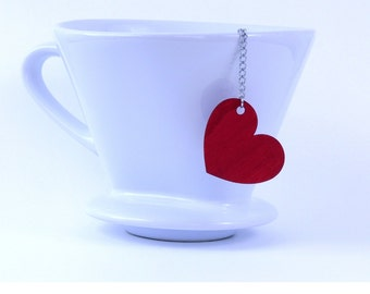 Loose Tea Infuser Tea Strainer Mesh Ball Wooden Tag Red Heart Pendant