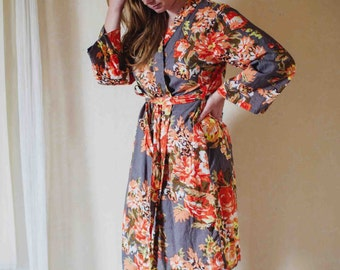 floral kimono Bridesmaid wedding party, floral robe, kimono robe, spa, cotton gown, bath robe / favor / bridesmaids gifts