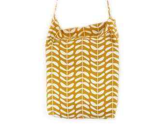 Organic Canvas Tote Shopping or Beach Cross Body Bag:  Yellow Leaves canvas with Grey Inside reusable bag