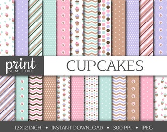 Cupcake Digital Papers, 24 Papers, Digital Backgrounds, Commercial Use, INSTANT DOWNLOAD, Scrapbook Papers, Baking, Kitchen, Pink, Purple