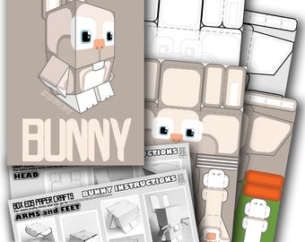 DIY paper craft activity kit. DIGITAL PRODUCT - Make your own bouncing white bunny rabbit paper toy.