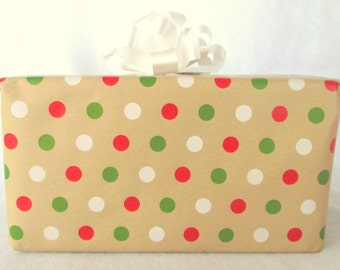 Red, White and Green Polka Dots on Kraft Christmas Wrapping Paper, Holiday Gift Wrap 10 ft x 2 ft. / 3.048 m. x .60 m. Roll,