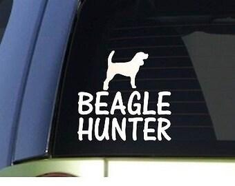 Beagle Hunter *H902* 6 Inch Sticker Decal Rabbit Hunting Dog Box